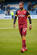 Bradford City midfielder Sherwin Seedorf (17) during the EFL Sky Bet League 1 match between Gillingham and Bradford City at the MEMS Priestfield Stadium, Gillingham, England on 27 October 2018.