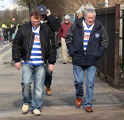 QPR fans arrive at Loftus Road - Photo mandatory by-line: Robbie Stephenson/JMP - Mobile: 07966 386802 - 22/03/2015 - SPORT - Football - London - Loftus Road - Queens Park Rangers v Everton - Barclays Premier League