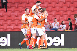 January 18, 2018 - Brisbane, QUEENSLAND, AUSTRALIA - Brisbane Roar players celebrate a Avraam Papadopoulos goal during the round seventeen Hyundai A-League match between the Brisbane Roar and the Perth Glory at Suncorp Stadium on January 18, 2018 in Brisbane, Australia. (Credit Image: © Albert Perez via ZUMA Wire)