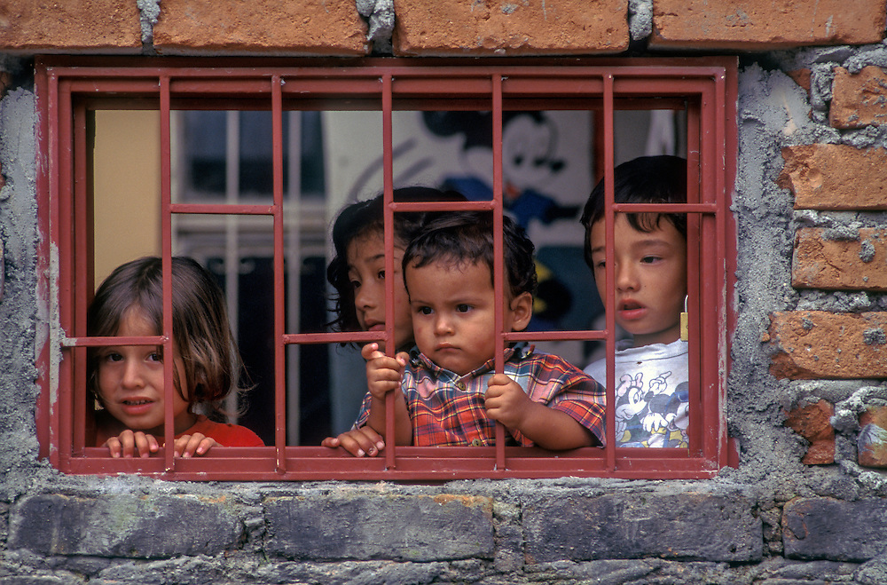 Homeless children find shelter in Armenia, Colombia after the 1999 earthquake which flattened their homes.