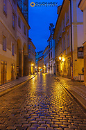 Narrow wet cobblestone streets in Old Town in Prague, Czech Republic
