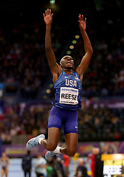 USA's Brittney Reese during the Women's Long Jump Final during day four of the 2018 IAAF Indoor World Championships at The Arena Birmingham.