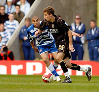Photo: Leigh Quinnell.<br /> Reading v Portsmouth. The Barclays Premiership. 17/03/2007. Portsmouths Gary O'Neil looks for a wau past Readings  James Harper.