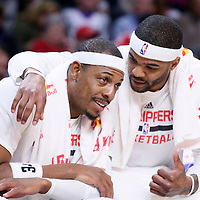 16 December 2015: Los Angeles Clippers center Josh Smith (5) talks to Los Angeles Clippers forward Paul Pierce (34) during the Los Angeles Clippers 103-90 victory over the Milwaukee Bucks, at the Staples Center, Los Angeles, California, USA.