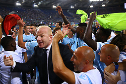 August 13, 2017 - Rome, Italy - SS Lazio Manager Igli Tare  celebrates the victory of the Italian Supercup match between Juventus and SS Lazio at Stadio Olimpico on August 13, 2017 in Rome, Italy. (Credit Image: © Matteo Ciambelli/NurPhoto via ZUMA Press)