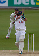 Will Smith (Hampshire CCC) hits out but is caught by Chris Rushworth (Durham County Cricket Club) during the LV County Championship Div 1 match between Durham County Cricket Club and Hampshire County Cricket Club at the Emirates Durham ICG Ground, Chester-le-Street, United Kingdom on 2 September 2015. Photo by George Ledger.