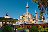 The Mevlâna museum,  the mausoleum of Jalal ad-Din Muhammad Rumi, a Sufi mystic also known as Mevlâna or Rumi. It was also the dervish lodge (tekke) of the Mevlevi order, better known as the whirling dervishes. Mevlâna died on 17 December 1273. Konya, Turkey .<br /> <br /> If you prefer to buy from our ALAMY PHOTO LIBRARY  Collection visit : https://www.alamy.com/portfolio/paul-williams-funkystock/konya.html<br /> <br /> Visit our TURKEY PHOTO COLLECTIONS for more photos to download or buy as wall art prints https://funkystock.photoshelter.com/gallery-collection/3f-Pictures-of-Turkey-Turkey-Photos-Images-Fotos/C0000U.hJWkZxAbg