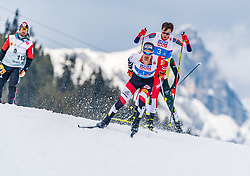 02.03.2019, Seefeld, AUT, FIS Weltmeisterschaften Ski Nordisch, Seefeld 2019, Nordische Kombination, Langlauf, Team Bewerb 4x5 km, im Bild v.l. Lukas Klapfer (AUT), Jarl Magnus Riiber (NOR) // f.l. Lukas Klapfer of Austria and Jarl Magnus Riiber of Norway during the Cross Country Team competition 4x5 km of Nordic Combined for the FIS Nordic Ski World Championships 2019. Seefeld, Austria on 2019/03/02. EXPA Pictures © 2019, PhotoCredit: EXPA/ Stefan Adelsberger