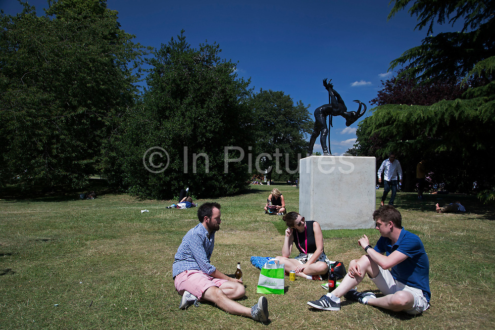 Frieze Sculpture 2017 opens to the public on July 5th 2017 in the English Gardens in Regents Park, London, England, United Kingdom. This is London's largest showcase of major outdoor works by leading artists and galleries, presenting a free outdoor exhibition for London and its international visitors throughout the summer months. Reza Aramesh, Metamorphosis - a study in liberation 2017.