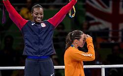 21-08-2016 BRA: Olympic Games day 22, Rio de Janeiro<br /> Nouchka Fontijn verliest in de finale van de Amerikaanse Claressa Shields. Ze is de eerste Nederlandse die een medaille pakt op het olympisch bokstoernooi.
