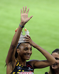August 10, 2018 - Berlin, Allemagne - BERLIN , GERMANY  - AUGUST 10  : Nafissatou Thiam  of Belgium pictured during 800 M of the heptathlon at the European Championships Athletics in Berlin 2018  on august 10 2018 in Berlin , Germany ,10/08/2018  (Credit Image: © Panoramic via ZUMA Press)