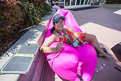 July 19, 2017 - San Diego, California, U.S. - DOMINIQUE CASTANEDA traveled all the way from Colorado to attend Comic-Con San Diego 2017. Castaneda is one of the many early birds to stake out a prime spot in line. (Credit Image: © Daren Fentiman via ZUMA Wire)