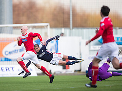 Falkirk's Taylor Morgan misses a shot. <br /> Falkirk 2 v 1 Brechin City, Scottish Cup fifth round game played today at The Falkirk Stadium.