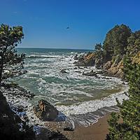 Pacific Ocean waves break at Stillwater Cove Regional Park in Sonoma County, California.