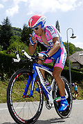 France, Talloire, 23 July 2009: Simon Spilak (Slo) Lampre - NGC on the Côte de Bluffy climb during Stage 18 - a 40.5 km Annecy to Annecy individual time trial. Photo by Peter Horrell / http://peterhorrell.com .