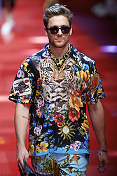 MILAN, June 18, 2017  A model walks the runway for fashion house Dolce&Gabbana during Milan Men's Fashion Week Spring/Summer 2018 in Milan, Italy, on June 17, 2017.  zcc) (Credit Image: © Jin Yu/Xinhua via ZUMA Wire)