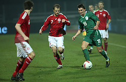Andraz Kirm (19) of Slovenia and Daniel Jensen (7) of Denmark during the UEFA Friendly match between national teams of Slovenia and Denmark at the Stadium on February 6, 2008 in Nova Gorica, Slovenia. Slovenia lost 2:1. (Photo by Vid Ponikvar / Sportal Images).