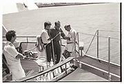 LACHLAN MURDOCH, RUPERT MURDOCH, BARRY DILLER, Party in the harbour on Rupert Murdoch's yacht.  Forbes weekend, TANGIER 1989