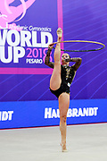 Halkina Kastiaryna during final at hoop in World Cup Pesaro, Adriatic Arena on April 15,2018. Katsiaryna is a Belarusian rhythmic gymnastics athlete born February 25,1997 in Minks, Belarus.