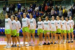 Team Akson Ilirija before the basketball match between Akson Ilirija and Cinkarna Celje in Final Round of Pokal Članic 2018/19, on March 10, 2019 in Dvorana Tabor, Maribor, Slovenia. Photo by Blaž Weindorfer / Sportida