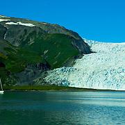 Aialik Glacier calves into Aialik Bay in Kenai Fjords National Park Alaska