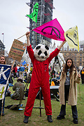 Extinction Rebellion demonstrators gather in Parliament Square outside the House of Commons ready to invite their local MP's to a People's Assembly on the climate and ecological emergency.  Westminster London, United Kingdom. Extinction Rebellion is a political movement with the main aim to avert climate breakdown, minimise human extinction and stop ecological collapse using non violent resistance.
