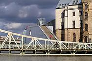 Cologne, Germany, February 4th. 2021, flood of the river Rhine, swing bridge and the Chocolate Museum in Rheinau harbor.<br /> <br /> Koeln, Deutschland, 4. Februar 2021, Hochwasser des Rheins, Drehbruecke und das Schokoladenmuseum im Rheinauhafen.