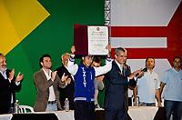 "20120507: SAO PAULO, BRAZIL - Football player Neymar awarded by the City of Sao Paulo with the Prize ""Paulista Citizen"". <br /> PHOTO: CITYFILES"