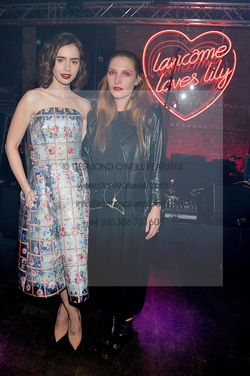 Left to right, LILY COLLINS and JOSEPHINE DE LA BAUME at the Lancôme pre BAFTA party held at The London Edition, 10 Berners Street, London on 14th February 2014.