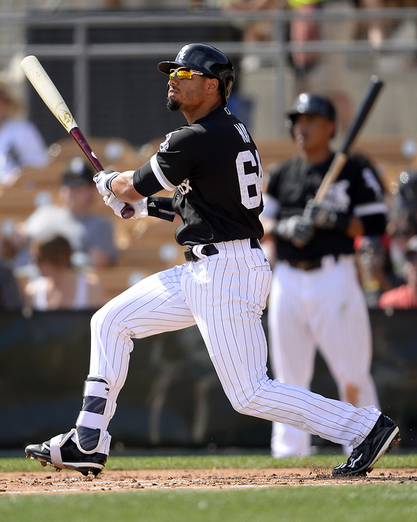 GLENDALE, ARIZONA - MARCH 4:  Jacob May #64 of the Chicago White Sox bats during the spring training game against the Los Angeles Angels of Anaheim on March 4, 2017 at Camelback Ranch in Glendale Arizona.  (Photo by Ron Vesely)   Subject:  Jacob May