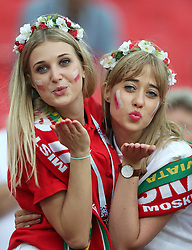 MOSCOW, June 19, 2018  Fans of Poland pose for photos prior to a Group H match between Poland and Senegal at the 2018 FIFA World Cup in Moscow, Russia, June 19, 2018. (Credit Image: © Ye Pingfan/Xinhua via ZUMA Wire)