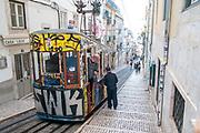 Elevador da Bica, the Bica street funicular lift, Bairro Alto, Lisbon, Portugal