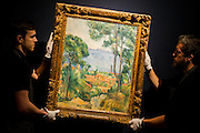 Cézanne's Vue sur L'Estaque et Le Château - Christie's Impressionist, Modern and Surrealist Art pre-sale exhibition ahead of the Evening sale on 4 February. Highlights include: Cézanne's Vue sur L'Estaque et Le Château d'If, from the collection of Samuel Courtauld, which is coming to the market for the first time since it was acquired 79 years ago, in 1936 (estimate: £8-12 million); The most valuable group of Surrealist art ever to be offered at auction, featuring a group of works by Magritte and Miró, led by Joan Miró's L'oiseau au plumage déployé vole vers l'arbre argenté, 1953, from a Distinguished European Collection (estimate: £7-9 million); Amedeo Modigliani's rare double portrait Les deux filles, 1918 (estimate: £6-8 million); Femme de Venise V by Alberto Giacometti (estimate: £6-8 million); Juan Gris's La Lampe, 1914, which is considered to be among the artist's greatest contributions to Cubism (estimate: £2.5-3.5 million); Paysage à L'Estaque, 1907, by Georges Braque (estimate: £2-3 million); An important group of German works from the collection of industrial chemist Carl Hagemann, representing three of the four founding artists of the Die Brücke movement, led by one of the masterpieces of Die Brücke art: Badende am Waldteich by Erich Heckel, along with key works by Ernst Ludwig Kirchner and Karl Schmidt-Rottluff; and other important works by Chagall, Moore, Picabia, Arp, Ernst, Tanguy and Dominguez. The auction has a total pre-sale estimate of £92.8 million-£133.8 million. Christie's, King Street, London, UK.
