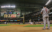 Sep 23, 2009; Houston, TX, USA; Houston Astros short stop Miguel Tejada hits a double in the sixth inning at Minute Maid Park.  Mandatory Credit: Thomas Campbell-US PRESSWIRE