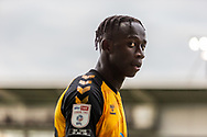 Newport County's goal scorer Saikou Janneh (20) is substituted during the EFL Sky Bet League 2 match between Newport County and Tranmere Rovers at Rodney Parade, Newport, Wales on 17 October 2020.