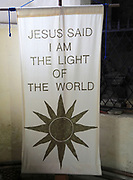 Religious banner inside Church of Saint Mary, Coddenham, Suffolk, England, UK - Jesus the light of the world