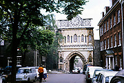 Arched gateway entrance to Norwich cathedral, Norfolk, England 1966