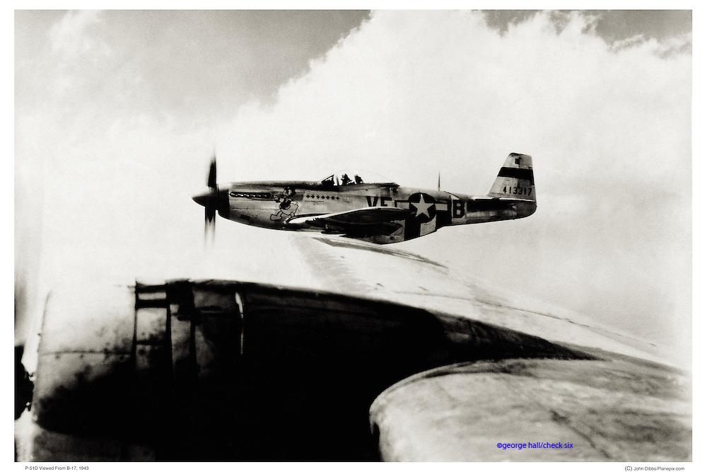 P-51 Mustang escorting B-17 bomber, WWII aerial
