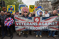 Veterans against Terrorism flag/banner during the Football Lads Alliance march between Park Lane and Westminster Bridge, London on 7 October 2017. Photo by Phil Duncan.