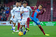 Wycombe Wanderers defender Joe Jacobson (3) battles for the ball with Scunthorpe United midfielder Yasin Ben El-Mhanni (19) during the EFL Sky Bet League 1 match between Scunthorpe United and Wycombe Wanderers at Glanford Park, Scunthorpe, England on 29 December 2018.
