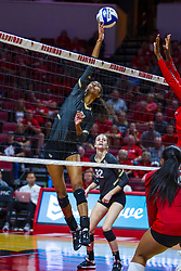 BLOOMINGTON, IL - September 14: Nerissa Moravec during a college Women's volleyball match between the ISU Redbirds and the University of Central Florida (UCF) Knights on September 14 2019 at Illinois State University in Normal, IL. (Photo by Alan Look)