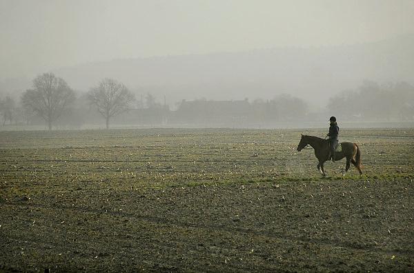 Nederland, Groesbeek, 26-11-2010Een jonge vrouw, meisje, rijdt op een paard wat over het land van een boer loopt.Foto: Flip Franssen/Hollandse Hoogte