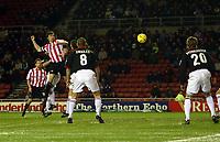 Photo. Andrew Unwin.<br /> Sunderland v Rotherham, Coca-Cola Championship, Stadium of Light, Sunderland 22/02/2005.<br /> Sunderland's Gary Breen (L) heads home his team's third goal.