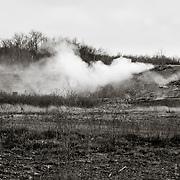 Steam rising from underground coal fire. Centralia, PA.