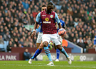 Christian Benteke on the ball during the The FA Cup match between Aston Villa and Leicester City at Villa Park, Birmingham, England on 15 February 2015. Photo by Alan Franklin.