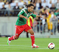 Mexico's Carlos Pena against New Zealand in the World Cup Football qualifier, Westpac Stadium, Wellington, New Zealand, Wednesday, November 20, 2013.