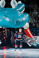 KELOWNA, CANADA - SEPTEMBER 24: Kyle Topping #24 of the Kelowna Rockets enters the ice against the Kamloops Blazers on September 24, 2016 at Prospera Place in Kelowna, British Columbia, Canada.  (Photo by Marissa Baecker/Shoot the Breeze)  *** Local Caption *** Kyle Topping;