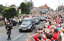The funeral cortege leaves St Joseph's Church in Blackhall, County Durham following the funeral of Bradley Lowery, the six-year-old football mascot whose cancer battle captured hearts around the world, took place.