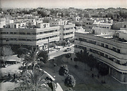 Elevated view of Tzina Dizengoff square Tel Aviv, Israel. Black and white photograph from circa 1940. In 1938 the square was named in honor of Tzina (Zina) Dizengoff the wife of the first mayor of Tel Aviv, Meir Dizengoff.