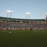 Players warm up prior to an international friendly soccer match between Scotland and the United States at EverBank Field on Saturday, May 26, 2012 in Jacksonville, Florida.  The United States won the match 5-1 in front of 44,000 fans. (AP Photo/Alex Menendez)